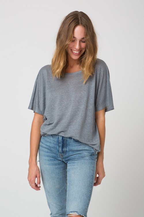 BACKLESS LINEN T-SHIRT