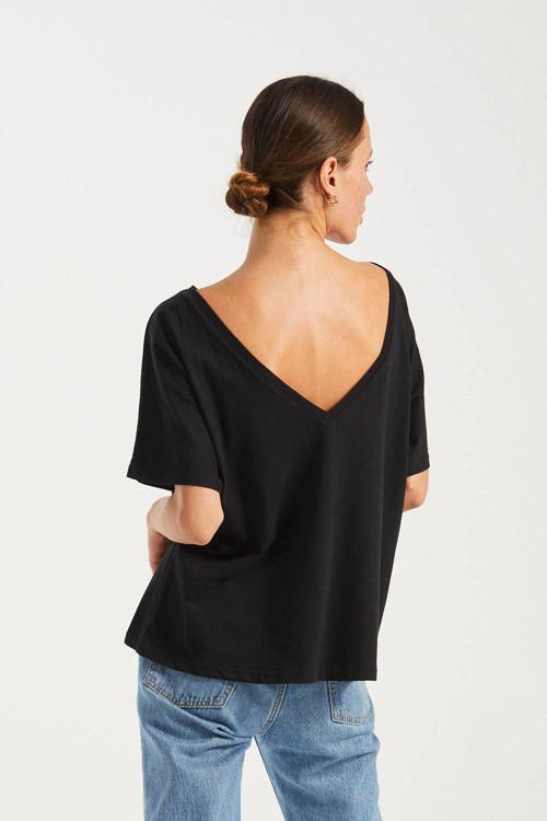 T-SHIRT V-BACK BLACK